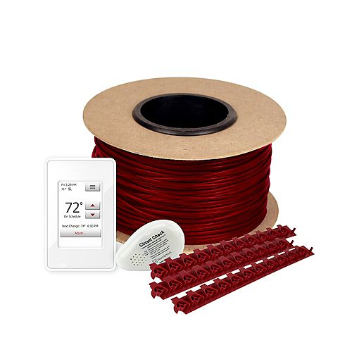 WarmlyYours Cable Floor Heating Kit 30', 120 Volts, with Nspire Thermostat (Covers 7.5 Sq. Ft)