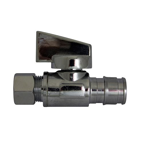 Chrome-Plated Straight 1/4 Turn Stop Valve - 1/2 inch Cold Expansion Pex X 3/8 inch Od Compression