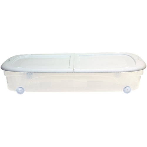 Clear Under Bed Box with Wheels and Latching Lid in White, 53 L