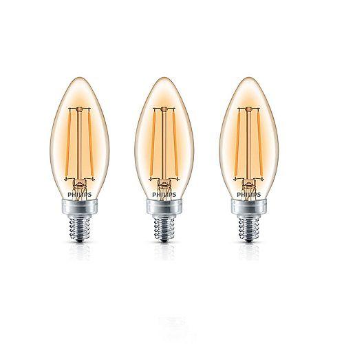 Philips Ampoule DEL pour lustre à petit culot, équivalence de 40 W, verre ambré, blanc doux, ens. de 3