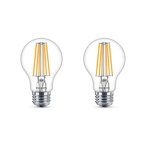 60W Equivalent Soft White WarmGlow Clear Glass A19 LED ENERGY STAR (2-Pack)