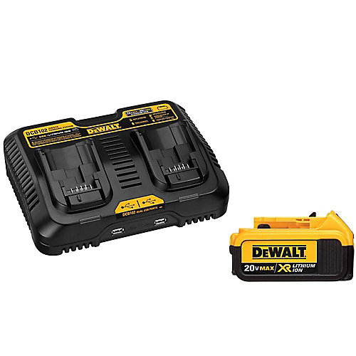 20V MAX XR Lithium-Ion Premium Battery Pack 4.0Ah et chargeur double port avec (2) ports USB