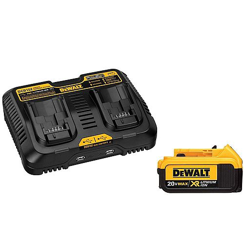 20V MAX XR Lithium-Ion Premium Battery Pack 4.0Ah and Dual Port Charger with (2) USB Ports