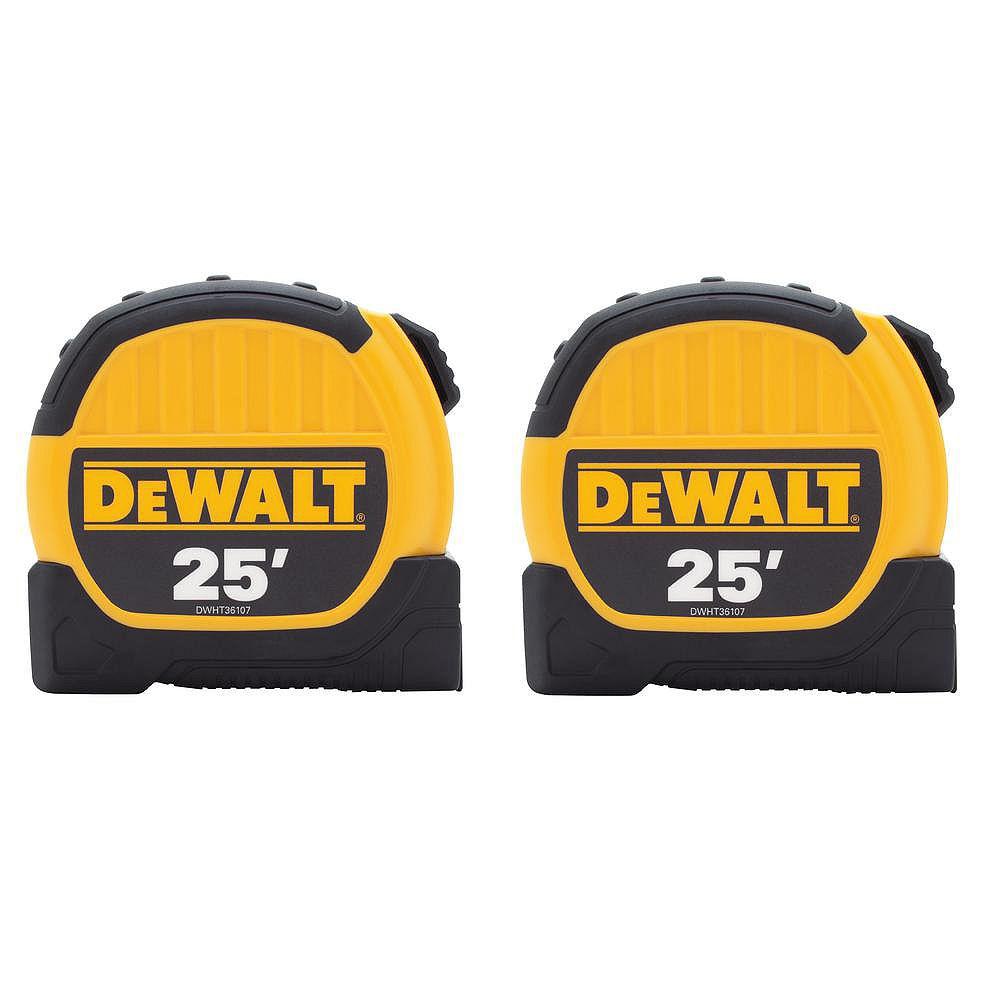 DEWALT 25 ft. x 1-1/8-inch Tape Measure (2-Pack)
