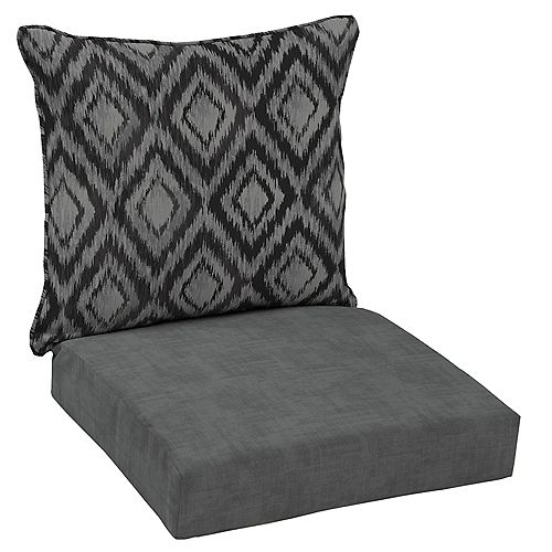 Patio Deep Seating or Outdoor Dining Chair Cushion in Black Jackson Ikat Diamond (2-Piece)