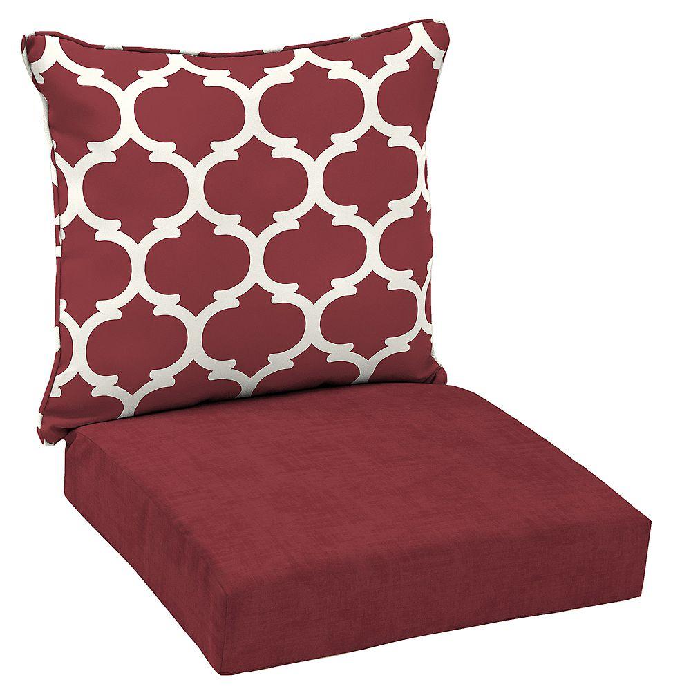 Hampton Bay Patio Deep Seating or Outdoor Dining Chair Cushion in Frida Trellis - (2-Piece)