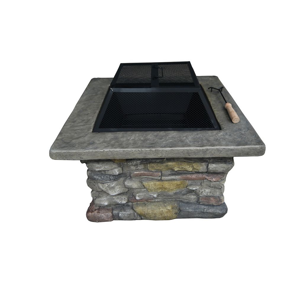 Crawford & Burke Stone Square Wood Burning Fire Pit