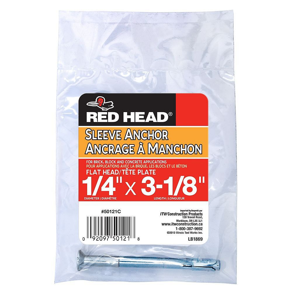 Red Head 1/4-inch x 3-1/8-inch Steel Flat Head Sleeve Anchor with Zinc Plated Finish - 1 Pack