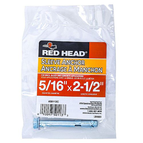 5/16 x 2-1/2-Inch Hex Head Sleeve Anchor - 1pc