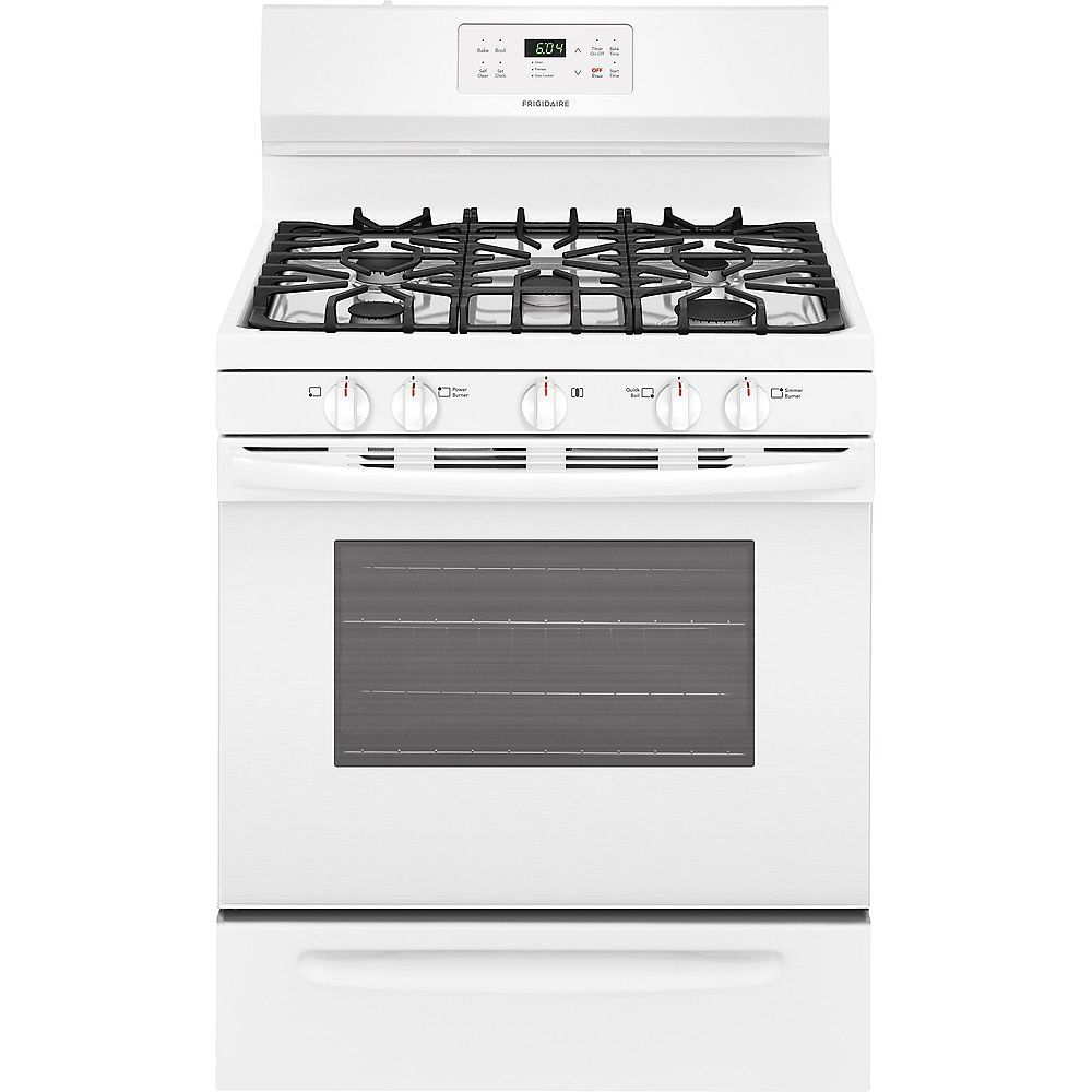 Frigidaire 30-inch 5.0 cu. ft. Freestanding Gas Range with Self-Cleaning Oven in White