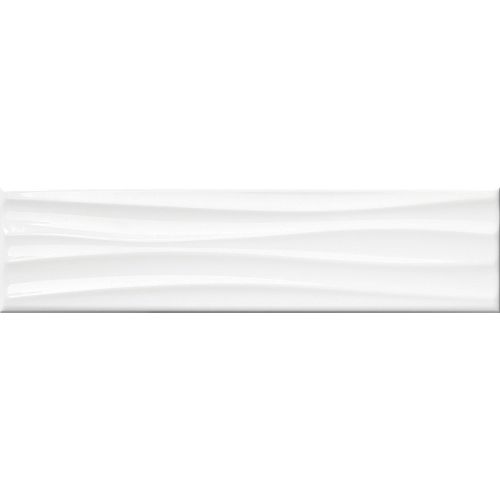 4-inch x 16-inch Metro Wavy White Gloss Wall Tile