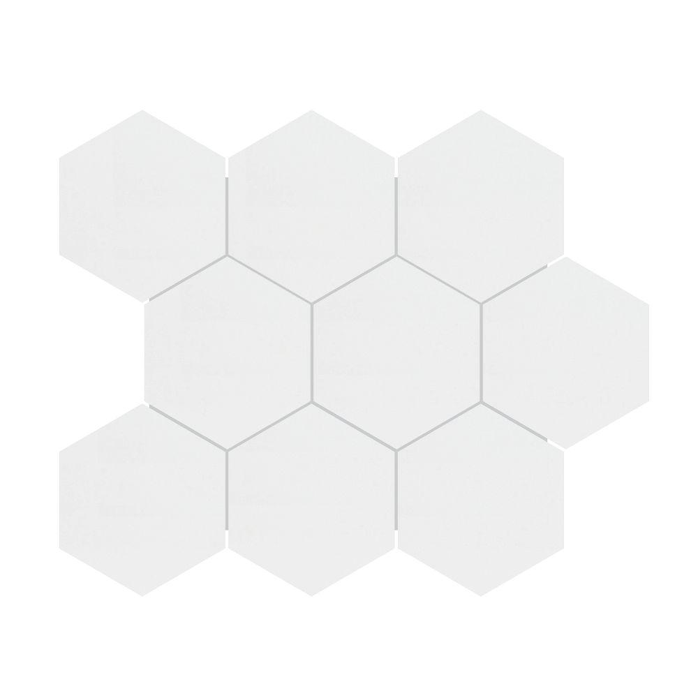 Enigma 4-inch Metro White Matte Hexagon Porcelain Mosaics