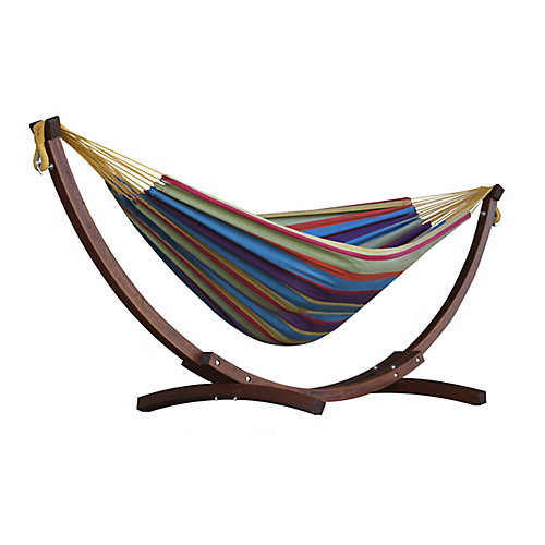 8 ft. Double Cotton Hammock in Tropical with Solid Pine Arc Stand