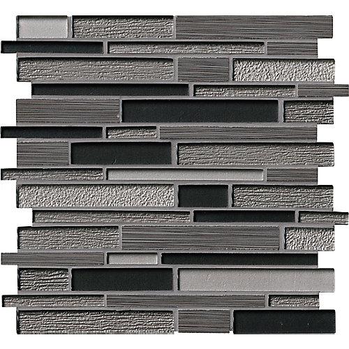Carr. de mosaïque de verre/pierre pour murs Bodega Interlocking montés sur filet de 12po x 12po