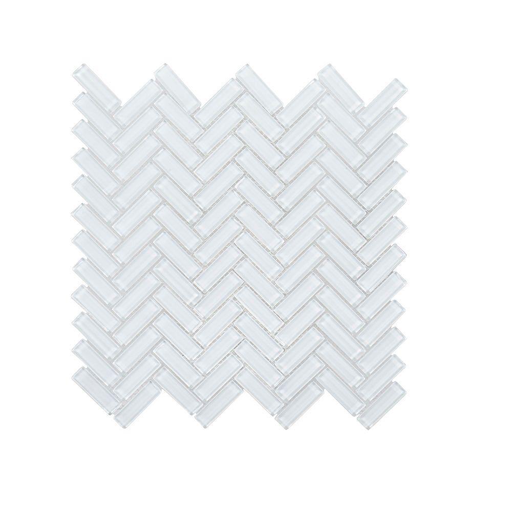 Jeffrey Court High Voltage Herringbone 11-inch x 11.25-inch Glass Mosaic Tile