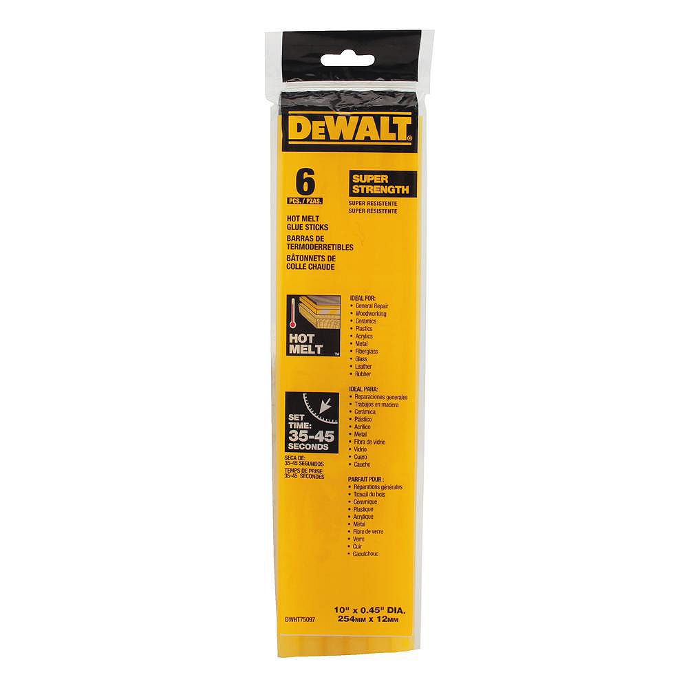 DEWALT 10 inch x 7/16 inch Dia Hot Melt Full Size Glue Sticks (6 Pack)