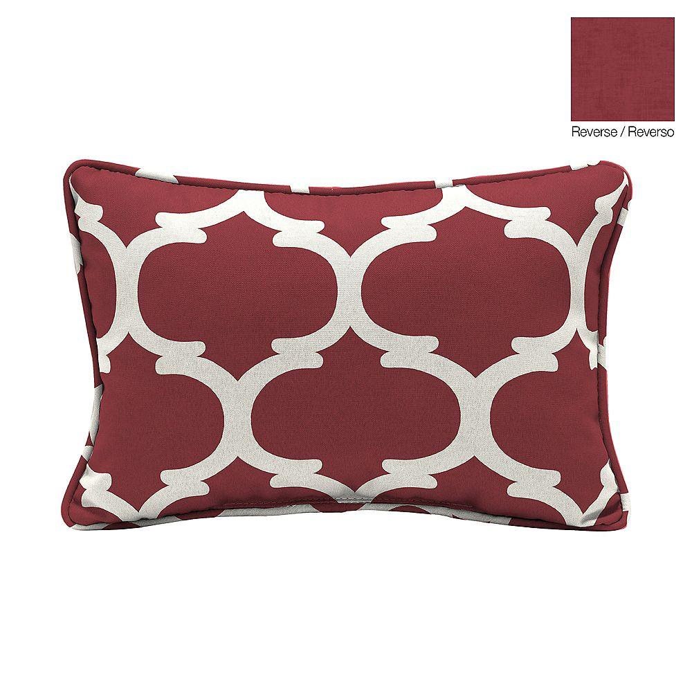 Hampton Bay 13 X 20 X 5 Inch Frida Trellis Lumbar Outdoor Throw Pillow In Red The Home Depot Canada