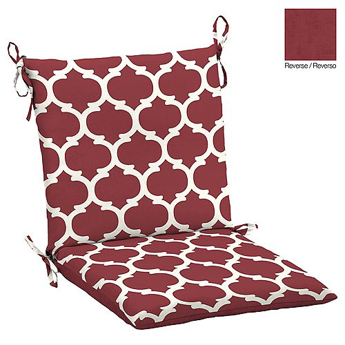 Frida Trellis Outdoor Dining Chair Cushion in Red & Rouge
