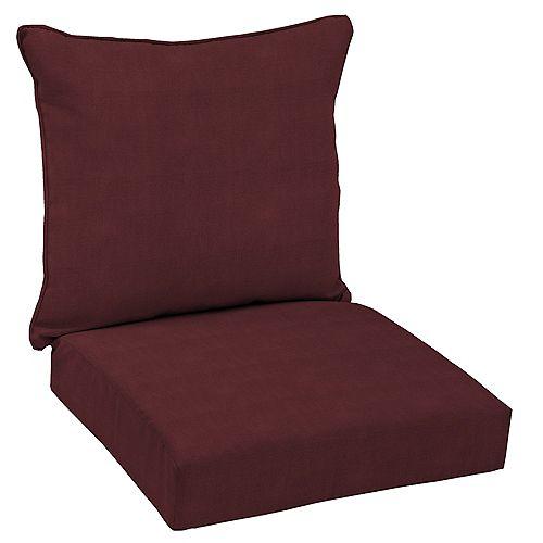 CushionGuard Aubergine 2-Piece Deep Seating Outdoor Dining Chair Cushion