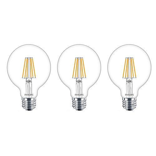40W Equivalent Soft White WarmGlow Clear Glass G25 Globe LED Light Bulb  (3-Pack)
