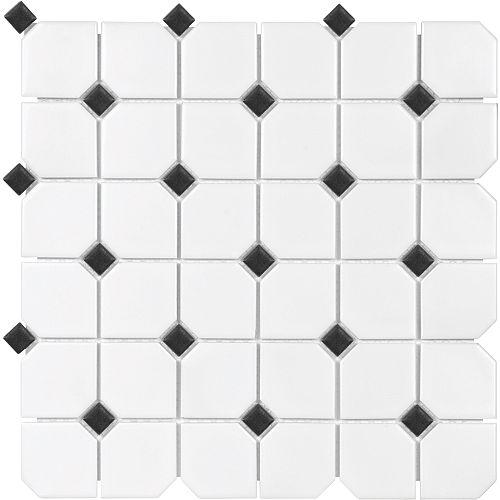 2-inch x 2-inch Metro White Matte with Black Dot Porcelain Mosaics
