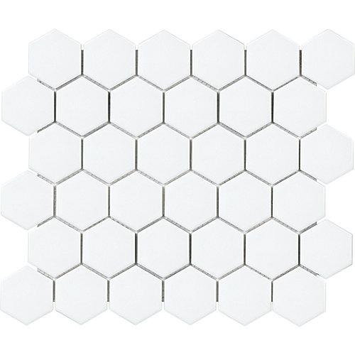 Mosaïque de carreaux hexagonaux, porcelaine, blanc mat, 2po, 0,95pi2/unité