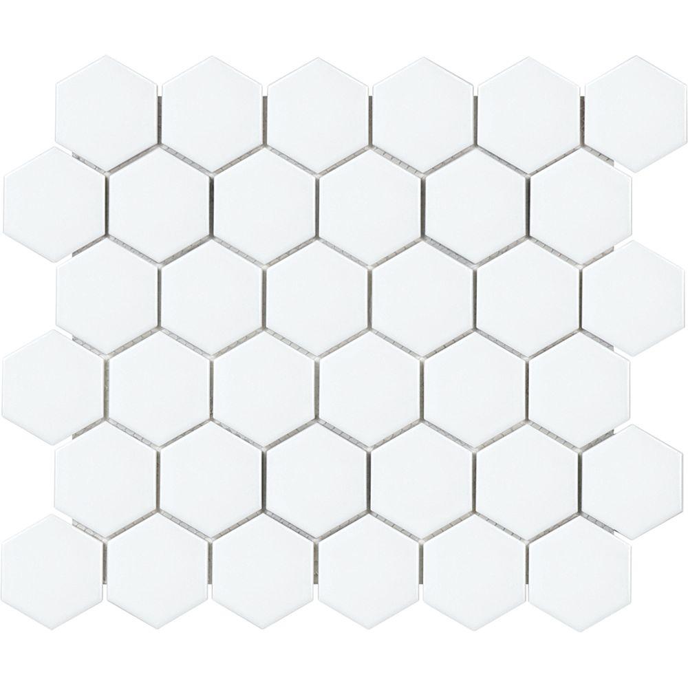 Enigma Metro Hexagon 2-inch Matte White Porcelain Mosaic Tile (0.95 sq. ft. / piece)