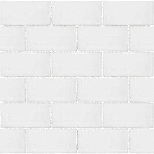 Mosaïque de carreaux métro, porcelaine, blanc lustré, 2po x 4po, 0,8pi2/unité