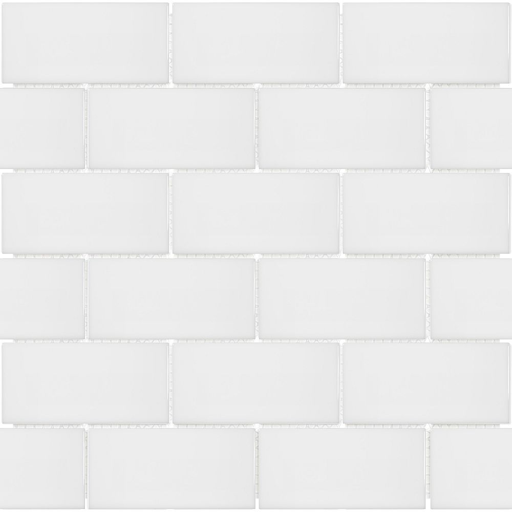 Enigma Metro Subway 2 Inch X 4 Inch Brick White Gloss Porcelain Mosaic Tile 0 8 Sq Ft The Home Depot Canada