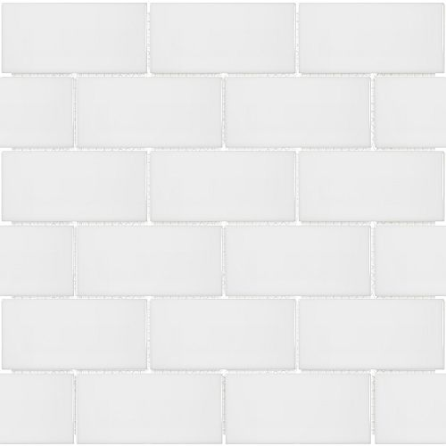 Metro Subway 2-inch x 4-inch Brick White Gloss Porcelain Mosaic Tile (0.8 sq. ft. / piece)