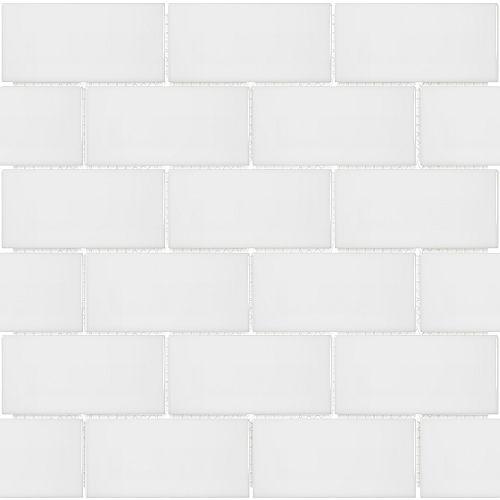 Mosaïque de carreaux métro, porcelaine, blanc lustré, 2 po x 4 po, 0,8 pi2/unité