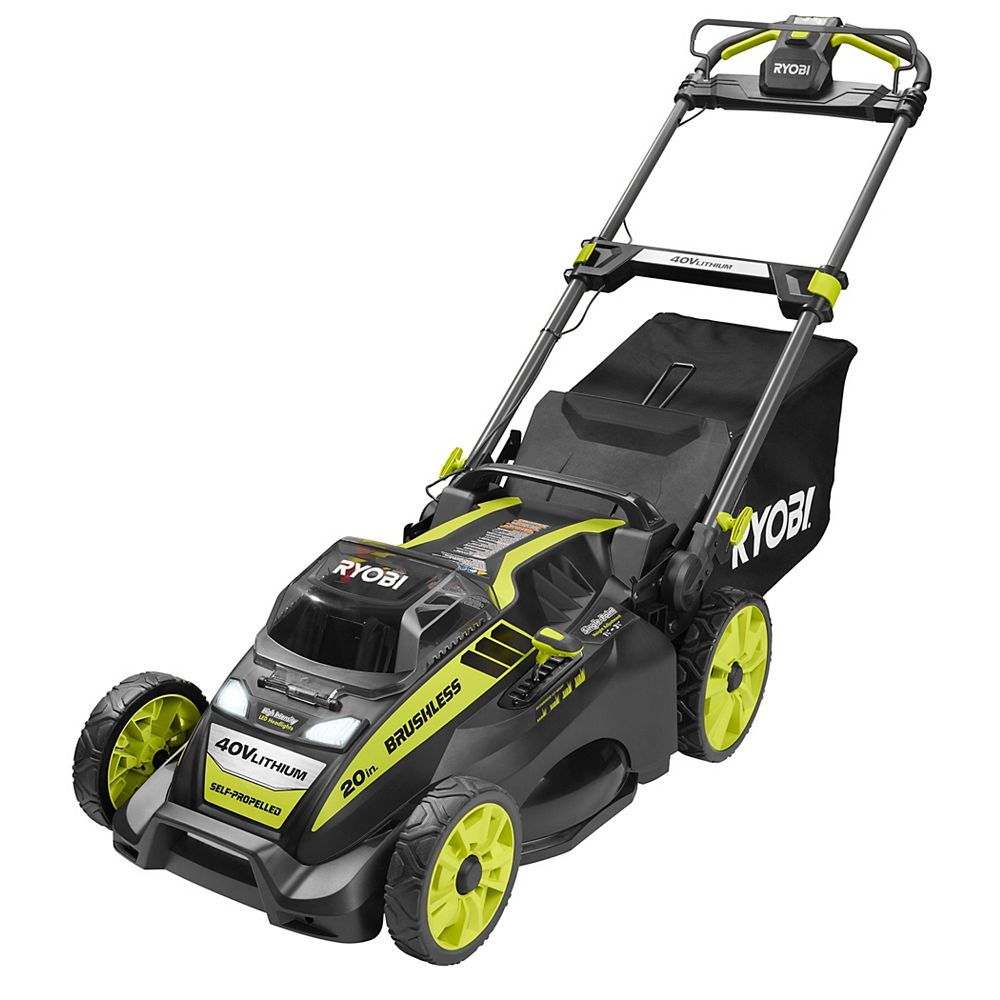 RYOBI 20-inch 40V Lithium-Ion Brushless Cordless Self-Propelled Walk Behind Lawn Mower with 5.0Ah Battery