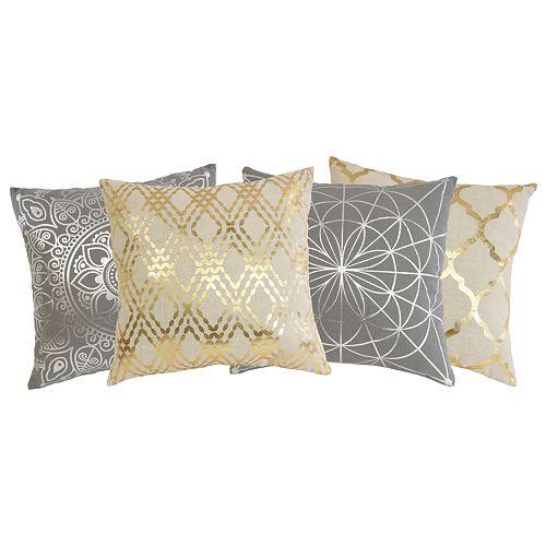 Coussins assortis décoratifs avec imprimé métalique 45 cm x 45 cm