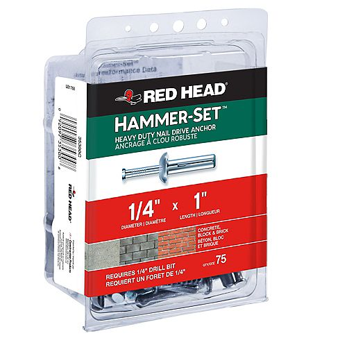 Red Head 1/4-inch x 1-inch Hammer-Set Heavy Duty Nail Drive Concrete Anchors - 75 Pack