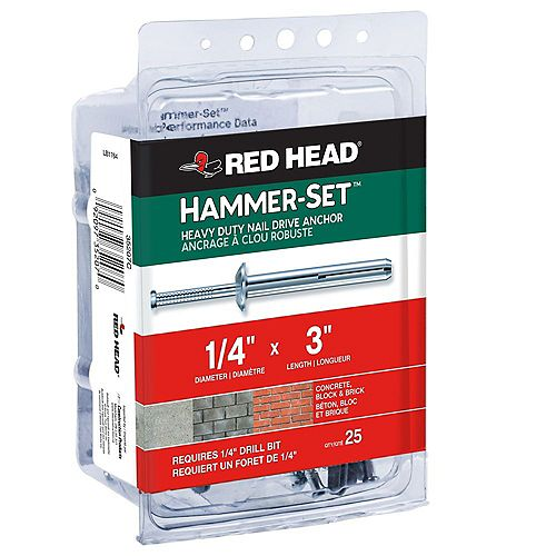 Red Head 1/4-inch x 3-inch Hammer-Set Heavy Duty Nail Drive Concrete Anchors - 25 Pack