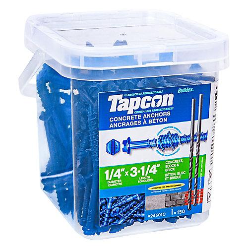 """Ancrage à tête hexagonale fendue 1/4 x 3-1/4"""" en bleu pour béton - 150pc"""
