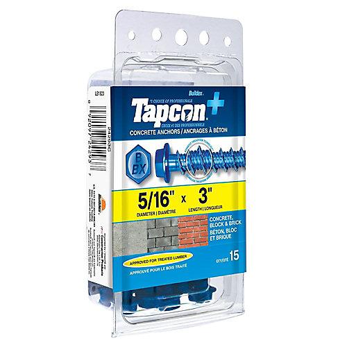 5/16 x 3 pouces Tapcon+ Ancrages à tête hexagonale en bleu pour têtes de rondelles - 15pc