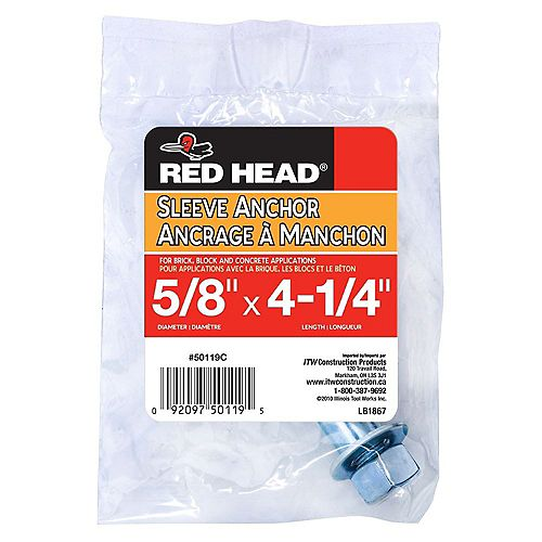 5/8 x 4-1/4-Inch Hex Head Sleeve Anchor - 1pc