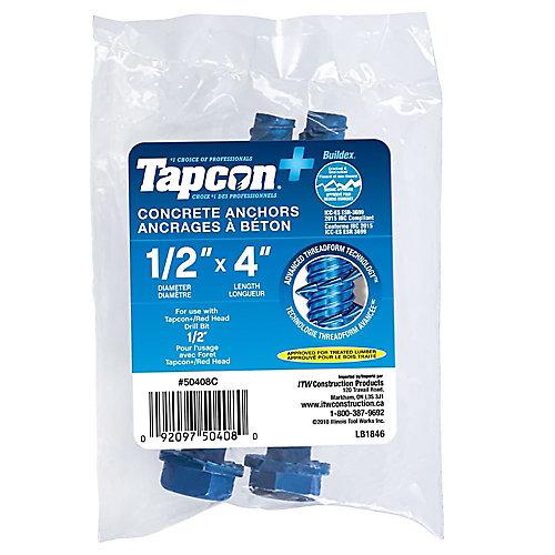 1/2 x 4 pouces Tapcon+ Rondelle hexagonale à tête hexagonale Ancrages à béton en bleu - 2pcs