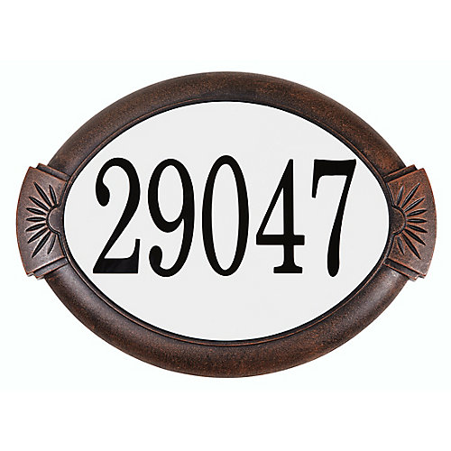Plaque d'adresse classique en aluminium, cuivre antique
