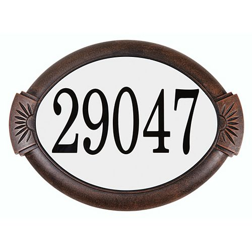 Classic Cast Aluminum Address Plaque, Antique Copper