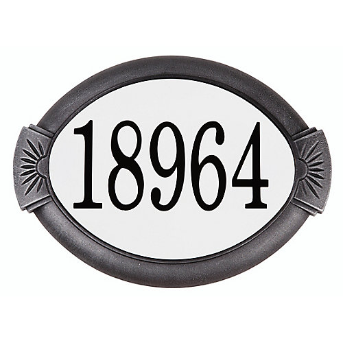 Plaque d'adresse classique en aluminium, gris antique