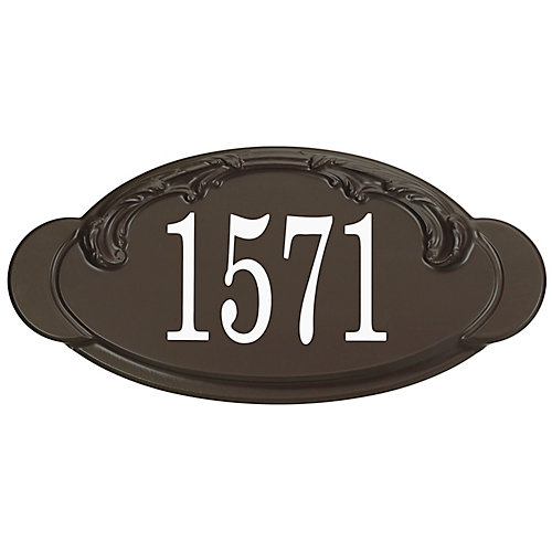 Victorian Thermoplastic Address Plaque, Mocha