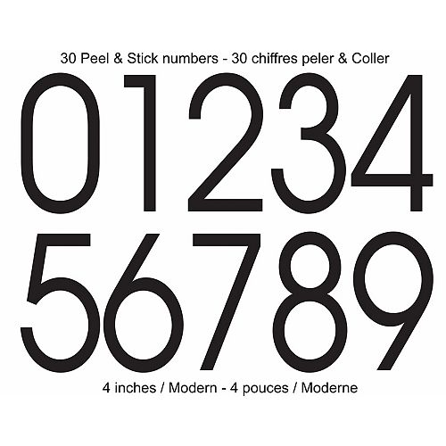 PRO-DF Modern Self-Adhesive Numbers Kit, Black - 4 Inches
