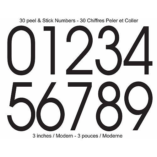 Modern Self-Adhesive Numbers Kit, Black - 3 Inches