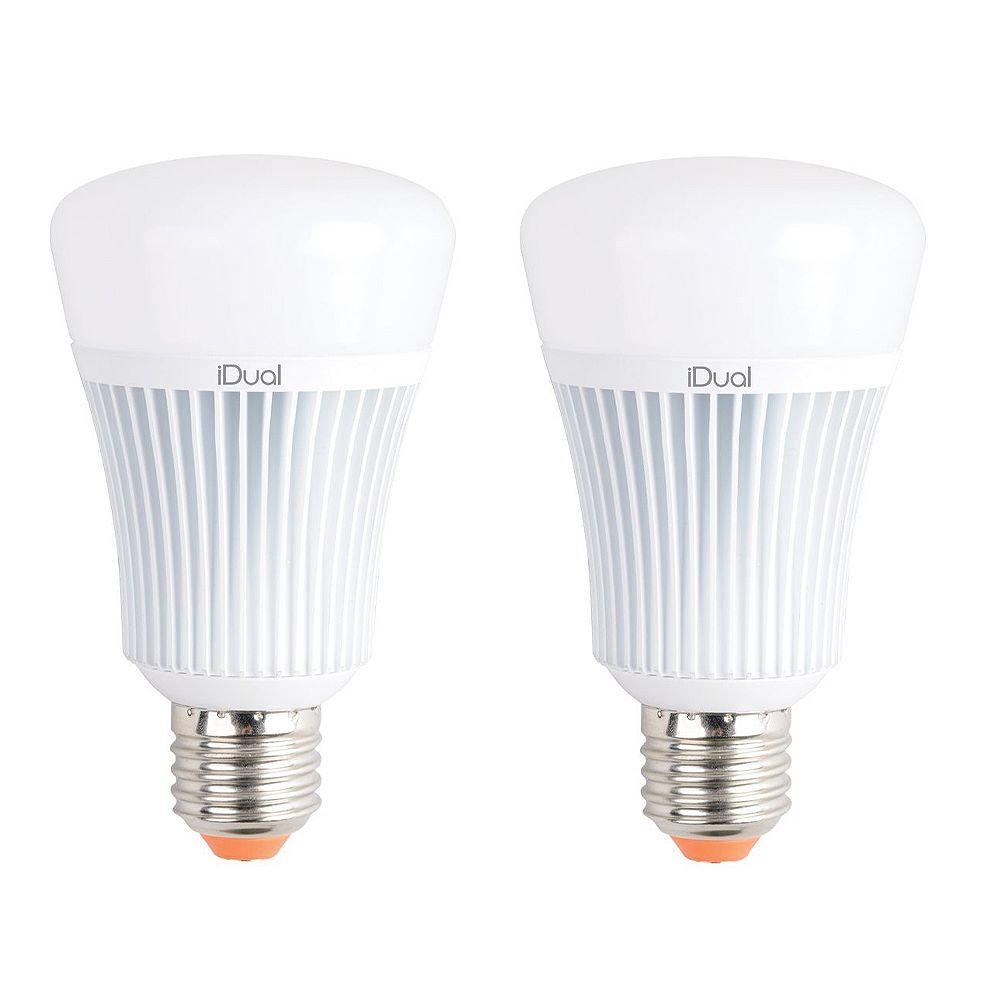 TAO Light Ampoule DEL de type A E26 iDual, équivalence de 60 W, blanc réglable, ens. de 2
