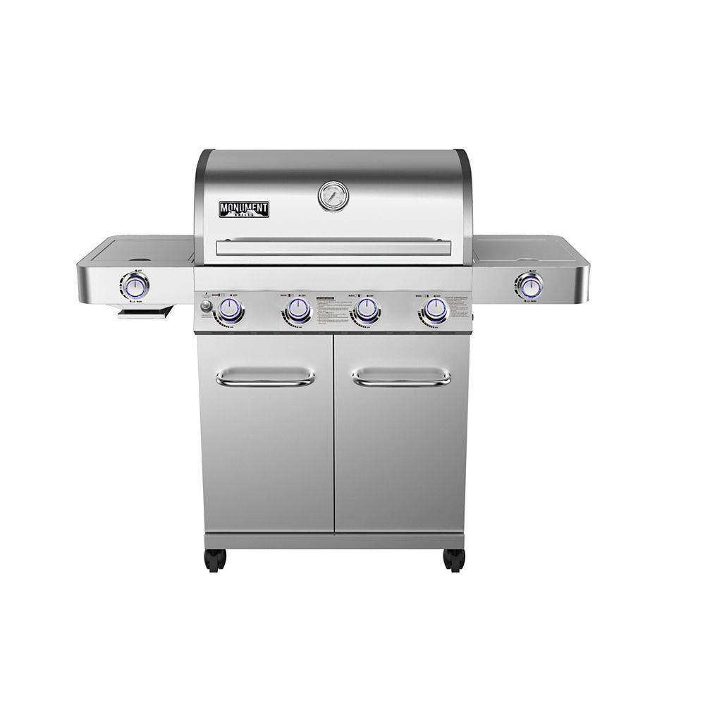 Monument Grills 24367 4-Burner Propane BBQ in Stainless with LED Controls