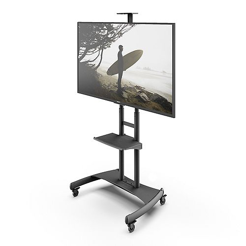 MTM82PL Height Adjustable Mobile TV Cart with Adjustable Steel Shelf for 50 - 82inch Screens