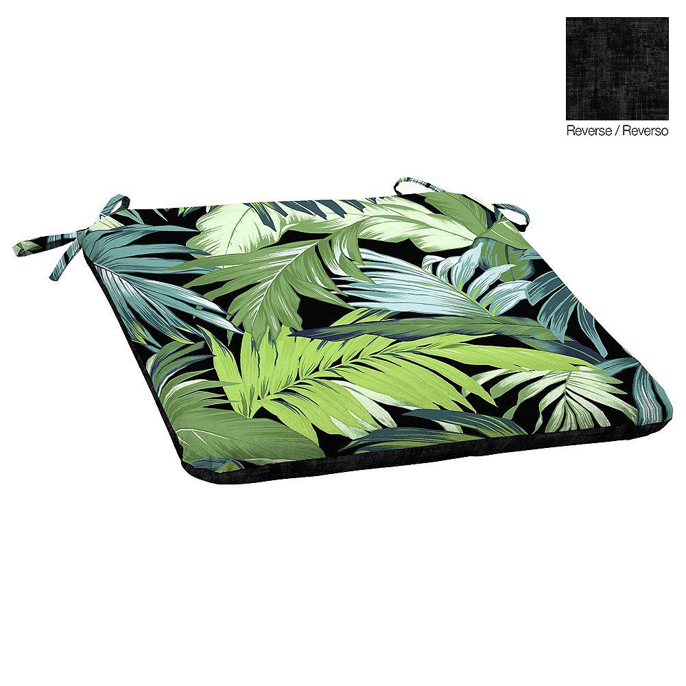 Hampton Bay Outdoor Seat Pad in Black Tropicalia