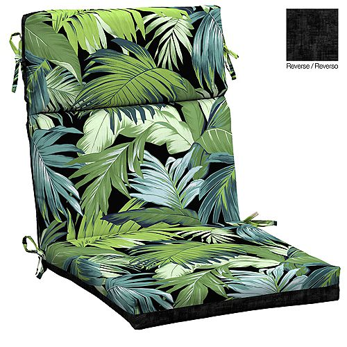 High Back Outdoor Dining Chair Cushion in Black Tropicalia